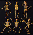 dancing golden skeletons vector image vector image