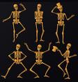 dancing golden skeletons vector image