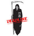 deadline concept death with scythe and hourglass vector image vector image