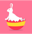 easter rabbit standing peering out of egg vector image