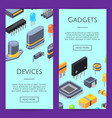 electronics cards microchips and vector image vector image