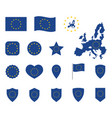 european union flag icons set symbols of eu flag vector image