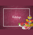 frame with food plates on background of vector image