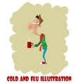 Fun cartoon man with cold or flu vector image