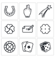 Gambling and fortune icon set vector image vector image