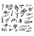 hand drawn curved and tangled doodle arrow set vector image