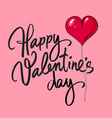 happy valentines day card with handwritten vector image vector image