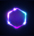 hex sign with neon lights on brick wall background vector image vector image