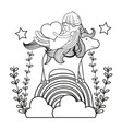line girl and unicorn in the rainbow clouds with vector image vector image
