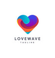modern colorful love wave logo icon template vector image