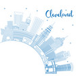 outline cleveland ohio city skyline with blue vector image vector image