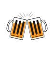 pair of beer mugs vector image