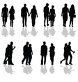 people walking in pairs silhouette vector image vector image