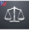Scales of Justice icon symbol 3D style Trendy vector image