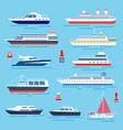 sea ship vessel shipping speedboating and yacht vector image