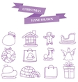 Set of holiday christmas element vector image vector image