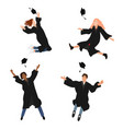 set with happy graduate students in vector image