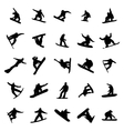Snowboarders silhouettes set vector image