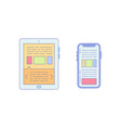 tablet smartphone lined icon for business vector image