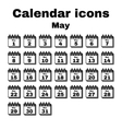 The calendar icon May symbol Flat vector image