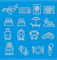 travel concept icons vector image vector image