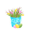 tulip flowers and pussy-willow branches in blue vector image vector image