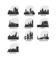 uk cities icons set skyline logo pack vector image vector image