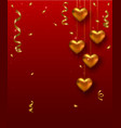 Valentines Day card design with hanging gold heart vector image vector image
