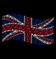 waving british flag pattern of military tank items vector image