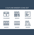 6 binder icons vector image vector image