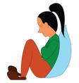 abstract cartoon a sad girl on white background vector image vector image