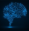 abstract polygonal brain with glowing dots vector image vector image