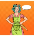 angry housewife pop art woman holding rolling pin vector image vector image