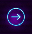 arrow button neon sign vector image