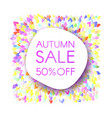 autumn sale banner with a bunch of colored leaves vector image