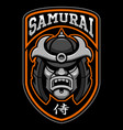 badge of samurai warrior vector image vector image