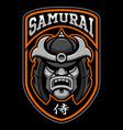 badge samurai warrior vector image vector image