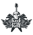 banner for rock music with guitar wings and skull vector image vector image