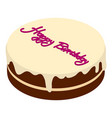 birthday cake icon isometric 3d style vector image vector image