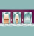 cartoon lift doors empty elevator cabins