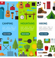 cartoon mountain hike elements banner vecrtical vector image