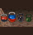 cartoon multicolored mixed kettlebell on a brick vector image