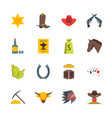 cartoon symbol of cowboy color icons set vector image vector image