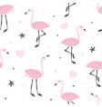childish seamless pattern with cute flamingo vector image