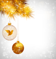 Christmas balls with bird and golden pine on vector image vector image