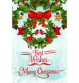 christmas wreath with ribbon and bow greeting card vector image vector image
