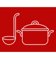 Cooking pot and ladle vector image vector image