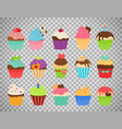 cupcakes flat icons on transparent background vector image vector image