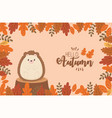 cute animal hello autumn season design vector image