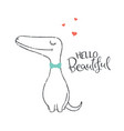 cute dinosaur in love stylized lettering vector image